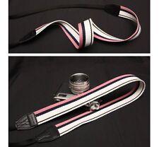 New Arnuvo Pink/White/Black Strip Pattern Camera Neck Strap (no. 611948)