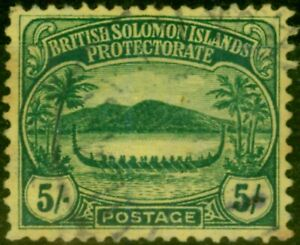 Solomon Islands 1910 5s Green-Yellow SG17 Good Used