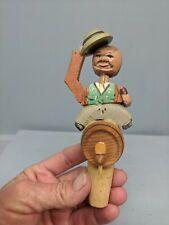 Vintage Anri or German Carved Wood Cork Bottle Stopper Mechanical Barrel Rider