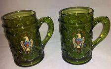 2 EMERALD GREEN Thick Glass Beer Mug Cup Embossed Vine Design EAGLE SHIELD
