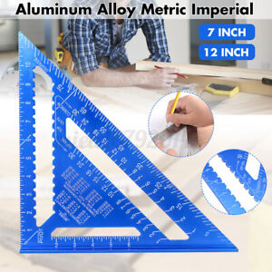 Metric/Imperia Aluminum Alloy 7/12In Triangle Angle Protractor Ruler Woodwork