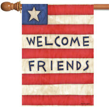 New Toland - Patriotic Welcome Friends - Usa Star Stripe Double Sided House Flag