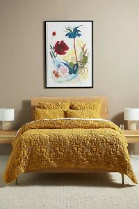 NEW Anthropologie Textured Piazza King Quilt in Maize