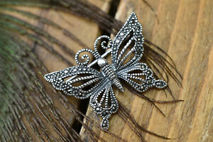 silver plated , marcasite butterfly brooch