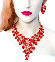 Necklace Earring Set Rhinestone Austrian Crystal Red