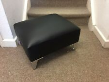 Small Footstool Pouffe Stool Present Black Faux Leather metal Leg British Made