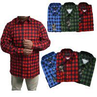 Mens Shirts Check Print Work Flannel Brushed Cotton Lumberjack Long Sleeve M-2XL