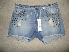 NEW Sz 27 Romeo & and Juliet Couture Studded Cutoff Distressed Denim Shorts