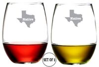 Texas / Stemless Wine Glasses / Set of 2 / Etched Engraved / Lead-Free / 16 Oz