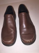 Womens ECCO Brown Leather Low Wedge Slip On Loafers Size 41 US sz 9.5
