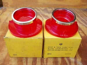 1964 Chevy Bel Air stop & tail lamp lens pair GM #5955459 Glo-Brite NORS!