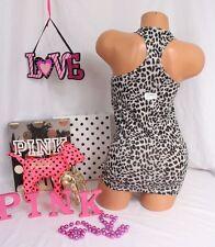 Victoria's Secret sz M~PINK~ Racerback Tank Top Gray Black Leopard/Cheetah
