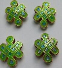 4 Cloisonne Beads, Ornate Knot Shape, Green/Blue 20mm. Jewellery/Beading/Crafts