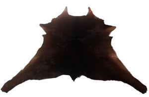 """Cowhide Rugs Calf Hide Cow Skin Rug (31""""x35"""") Solid/Dark Brown CH8225"""