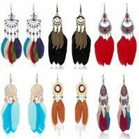 Charm Boho Style Tassel Long Feather Ear Hook Earrings Dreamcatcher Women Gift