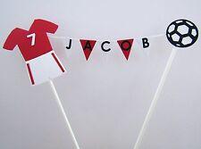 Handmade Personalised Cake Topper - Boys Birthday - Red Football Bunting United