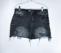 Old Navy Denim Shorts Womens 12 Black distressed destroyed frayed high rise