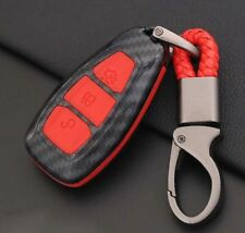3 Button Carbon Remote Key Fob Shell Case Cover Red Ford Focus Kuga C-Max Galaxy
