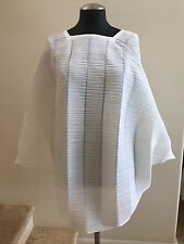 NWOT PLEATS PLEASE ISSEY MIYAKE Ivory Square Neck Pleated Tunic Top Blouse, 3