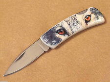 """Fury 20710 Wolf Eyes color picture folding lockback knife 3 1/2"""" closed NEW!"""