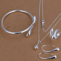 Fashion Women 925 Silver Drop Necklace Bracelet Earring Ring Wedding Jewelry Set