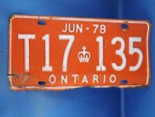 ONTARIO LICENSE PLATE 1978 T917135 RED CROWN  VINTAGE MUSCLE CAR METAL SHOP SIGN