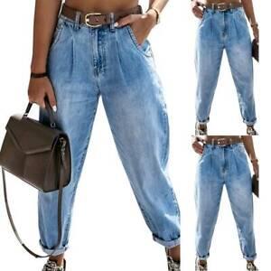 Womens Boyfriend Denim Jeans High Waist Casual Pants Stretch Joggers Trousers