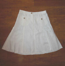 J. CREW WOMENS SKIRTS WHITE 100% LINEN FLOWING POCKETS SIZE 8