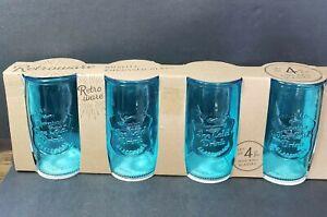 Retroware High Ball Glasses NEW Set Of 4 Embossed Glass 20 oz Aqua Blue