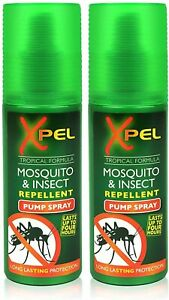 2x Xpel Mosquito Insect Fly Bite Repellent Tropical Formula Pump Spray 70ml UK