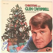 Glen Campbell singer Christmas With REAL hand SIGNED Vinyl Record LP w/ JSA COA