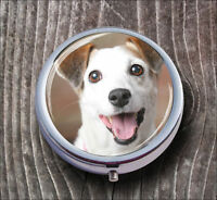DOG JACK RUSSELL TERRIER #2 PILL BOX ROUND METAL -hub6Z