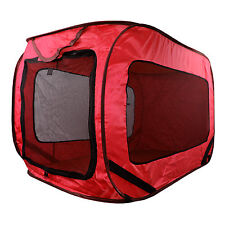 Kennel Dog Canvas Pop Up Travel Cage Run Light Weight Portable Red Mesh Puppy