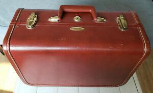 """Vintage Taperlite Hard Side Suitcase Brown Leather 16"""" x 11"""" x 8"""" Luggage 2 Keys"""