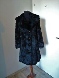 Vintage black real fur coat furcoat jacket Size S EU 34 36 UK 8 10