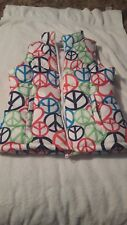 Girls XL size 14 Old Navy Colorful Peace sign sleeveless, fleece lined vest
