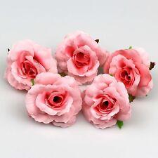 50X Pink Artificial Fake Flower Silk Rose Heads DIY Bulk Wedding Home Deco