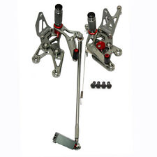 Adjustable for YAMAHA YZF R1 2007 2008 Rearset Foot Pegs Foot Pedals CNC grey