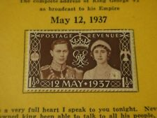 8George's Address To His Empire 12 May 1937 Unused Stamp