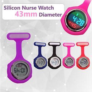 Electric Multi-function Digital Silicone Nurse Watch Brooch Fob Pocket Watch OZ
