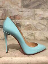 NIB Christian Louboutin Pigalle Follies 100 Blue Source Patent Pump Heel Shoe 40