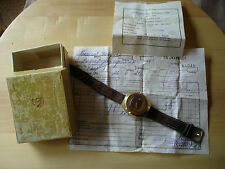 REAR Soviet USSR Luch Gold Plated Watch with Box and Papers  #417