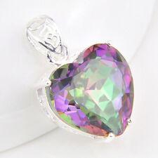 Valentine's Gift Romantic Heart Rainbow Mystic Topaz Silver Necklace Pendannts