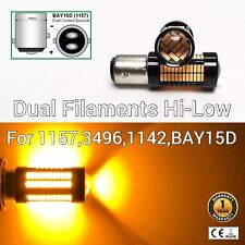 Brake Stop Light 1157 2057 3496 7528 1142 BAY15D 108 SMD Amber LED Bulb M1 MA