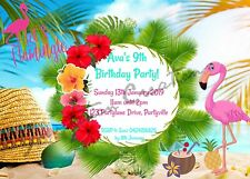 Diy Print Custom Tropical Aloha Beach Pool Flamingo Birthday Party Invitations