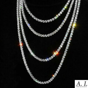 """TENNIS CHAIN 5MM 18"""" - 30"""" Iced Out Stainless Silver Diamond Shiny Necklace"""