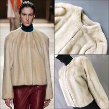 RARE Hermes Runway Donna pelliccia di visone Cashmere Giacca Cappotto corto taglia 38 ci UK10 4 6