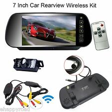 "7"" LCD Car Rear View Mirror Monitor+Wireless Night Vision Backup Reverse Camera"