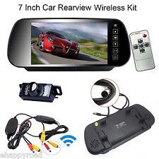 "7"" LCD Car Rear View Mirror Monitor+Wireless Night Vision Backup Reverse Camera"