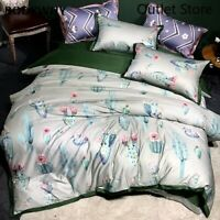 Plant Cactus Duvet Cover Bedding Set Egyptian Cotton Quilt Cover Bed Sheet 4Pcs